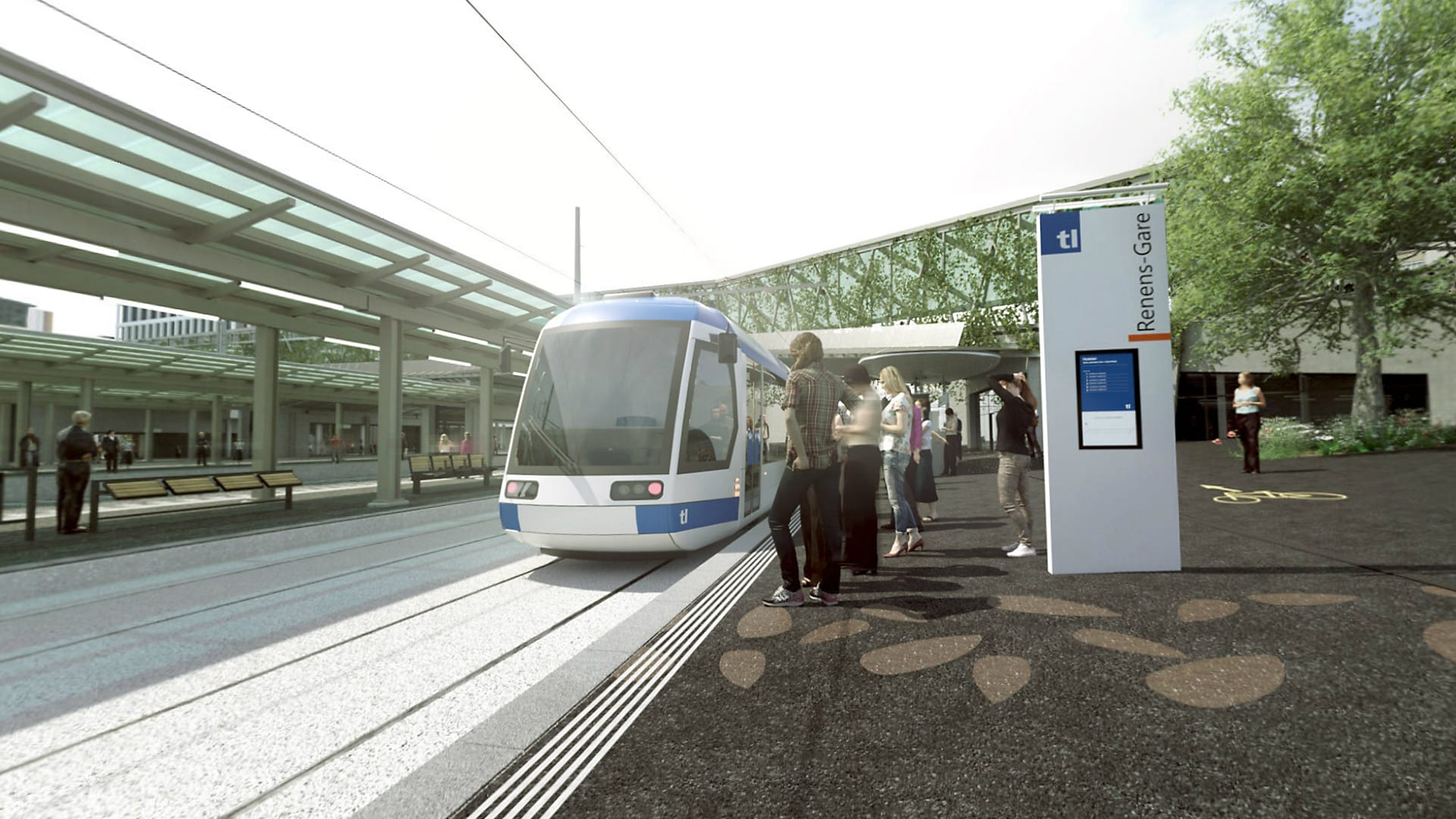 Renens Gare vue sol projet - Tramway lausannois