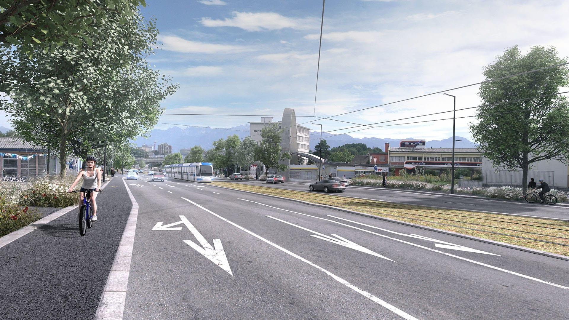 Boulevard Arc en Ciel projet vue sol - Tramway Lausannois